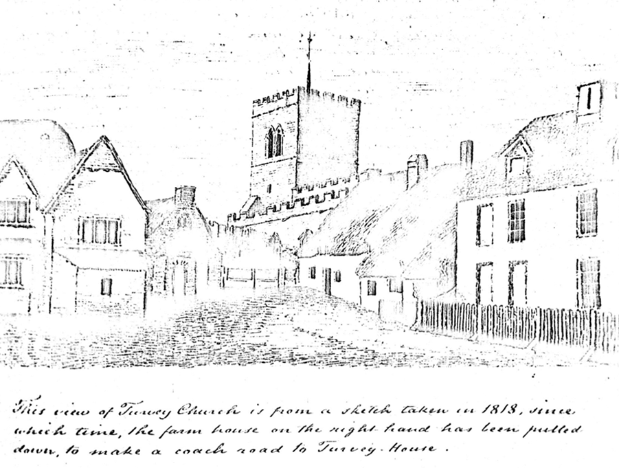 All Saints Turvey in 1818, before the tower addition